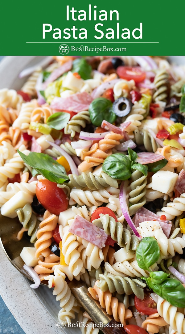 Quick and Easy Italian Pasta Salad with Salami, Cheese, Basil on plate