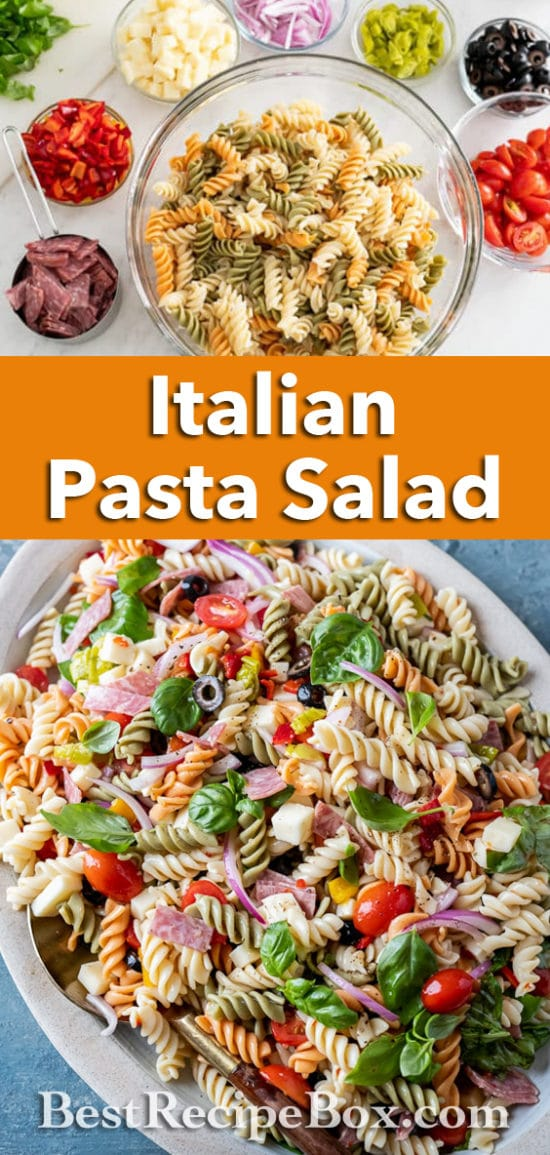 Quick and Easy Italian Pasta Salad with Salami, Cheese, Basil and More ! | BestRecipeBox.com