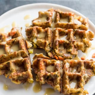 Leftover Stuffing Waffles with Maple Gravy
