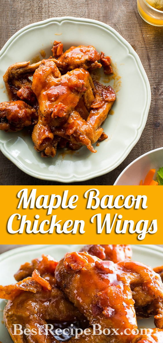 Awesome Sticky Maple Bacon Bourbon Chicken Wings | @BestRecipeBox