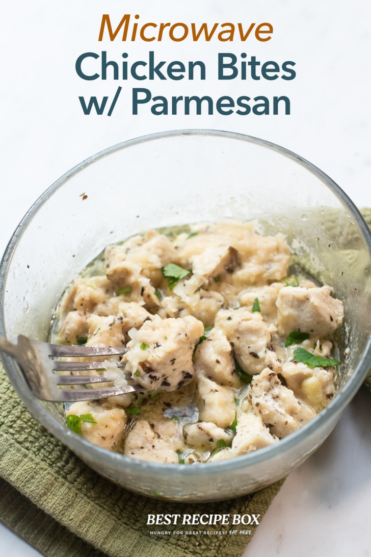 Microwave Chicken Bites Recipe with Garlic Parmesan in bowl with fork
