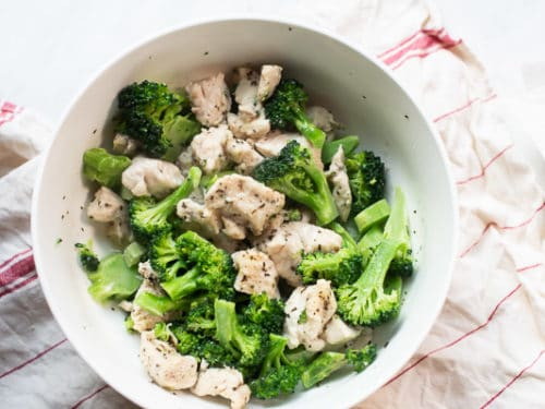 Cooked chicken and broccoli in a bowl