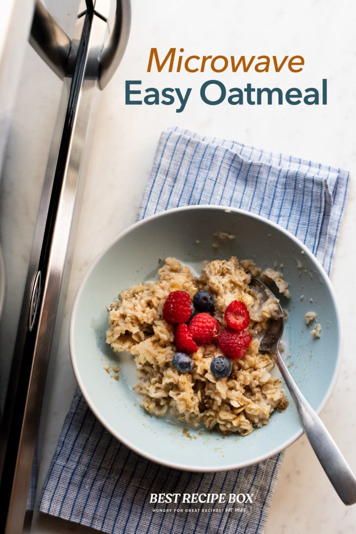 Microwave Oatmeal Recipe in bowl with spoon