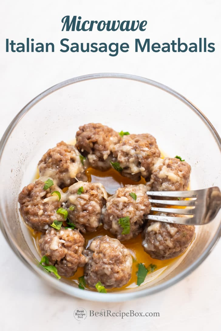 Sausage meatballs in bowl with fork