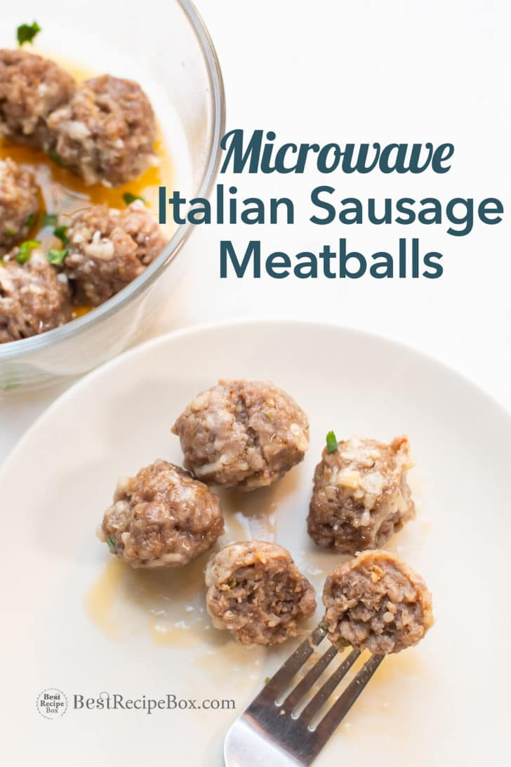 Italian Sausage Meatballs on plate with fork