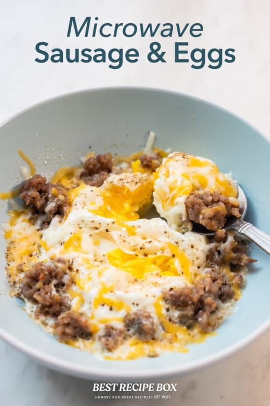 Microwave Sausage and Eggs Breakfast Recipe in bowl