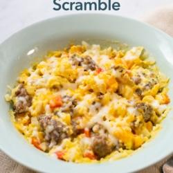 Microwave Sausage Scramble Recipe with Veggies | BestREcipeBox.com