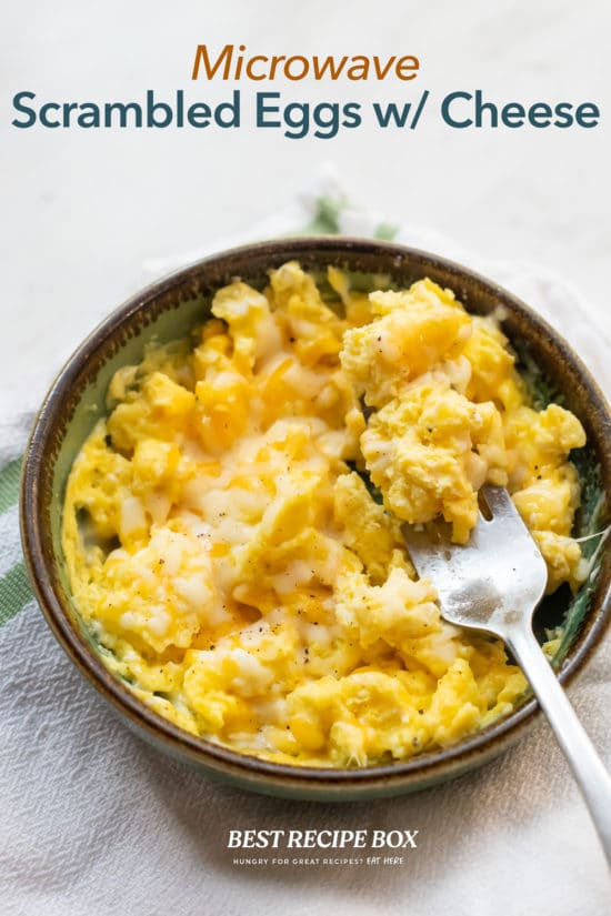 Microwave Scrambled Eggs Recipe in bowl with fork