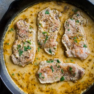 Juicy Pork Chops Braised in Milk with Mustard Sauce | @bestrecipebox