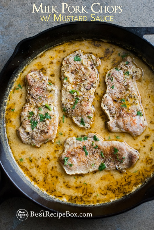 Juicy Pork Chops Braised in Milk with Mustard Sauce | @bestrecipebox