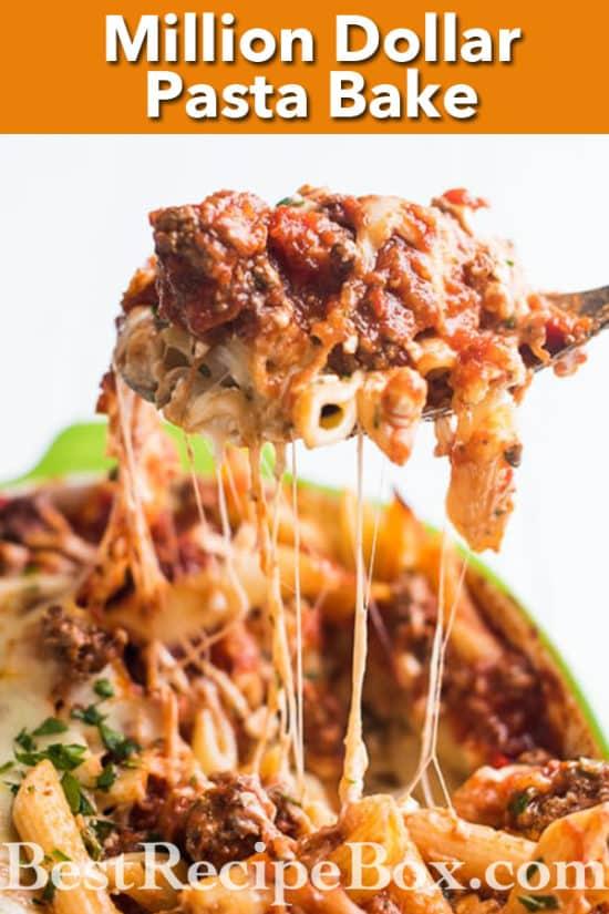 Million Dollar Pasta Bake Recipe with Cheesy Meat Sauce | @bestrecipebox