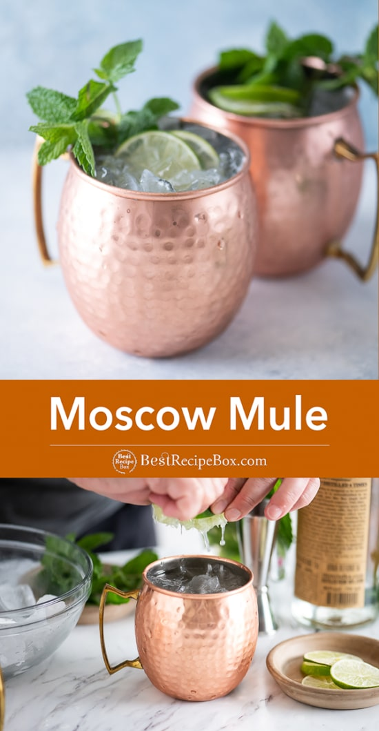 Best Moscow Mule Cocktail Recipe with Vodka, Ginger Beer in copper mugs
