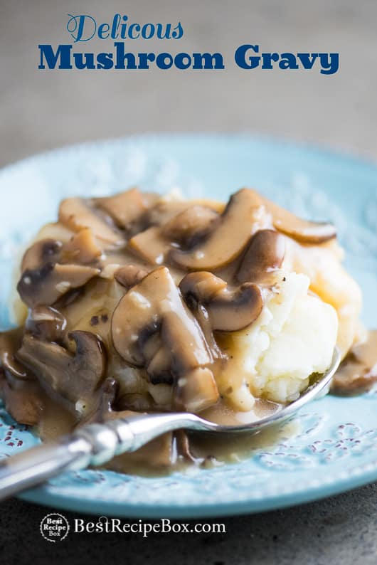 Best Mushroom Gravy Recipe or Mushroom Sauce Recipe for Potatoes | @bestrecipebox
