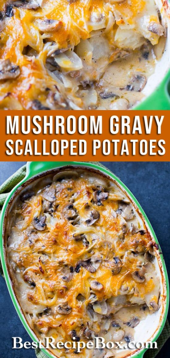 Mushroom Gravy Scalloped Potatoes Recipe @bestrecipebox