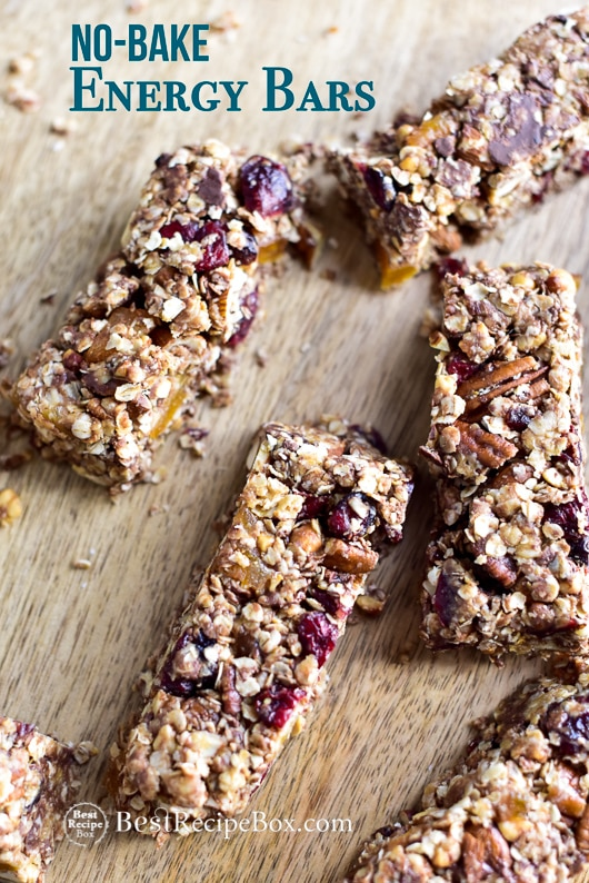 No Bake Peanut Butter Oat Energy Bars on a cutting board