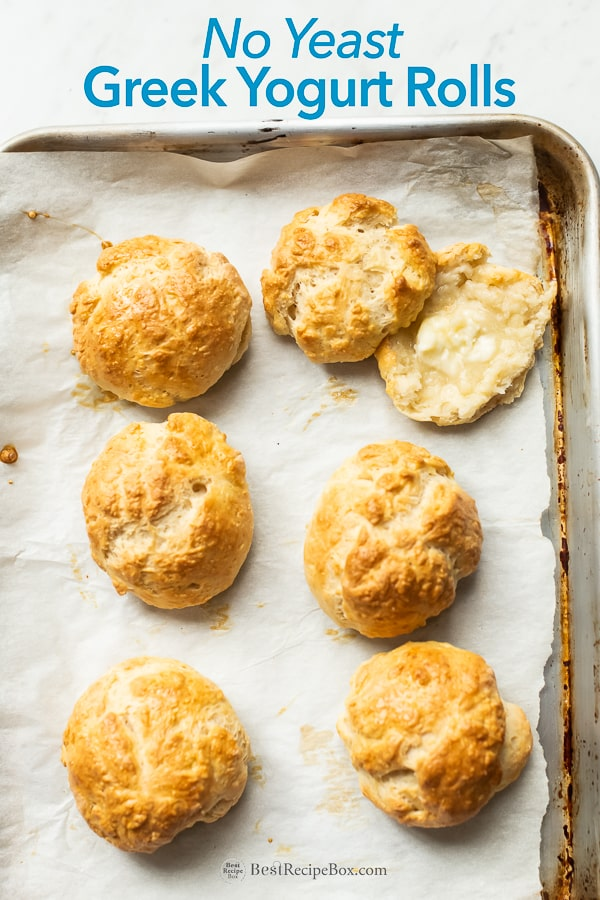 No Yeast Yogurt Rolls Yeastless bread recipe with greek yogurt on baking sheet pan