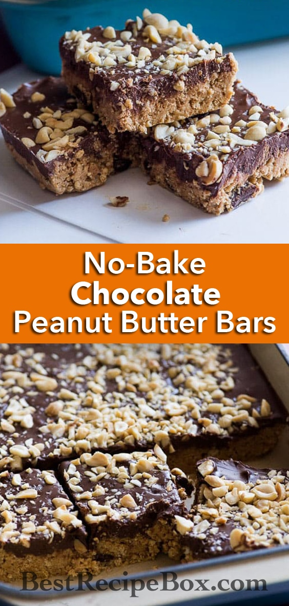 Amazing No-Bake Dark Chocolate Peanut Butter Bars with a touch to sea salt to make it perfect | @bestrecipebox