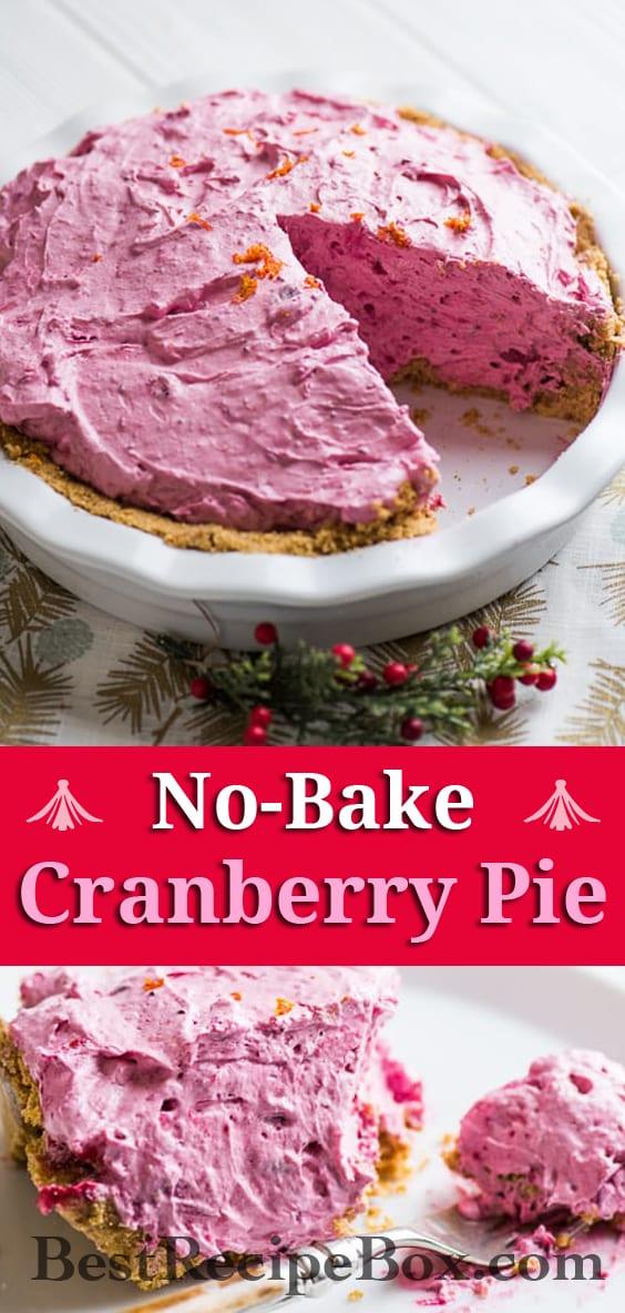 No Bake Cranberry Pie Recipe | @bestrecipebox