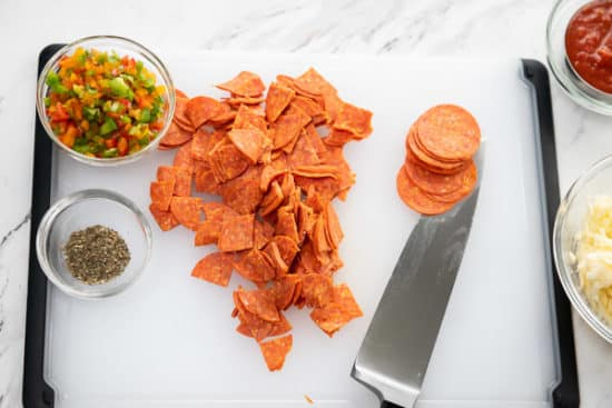 Cut & Mix the Pepperoni Filling
