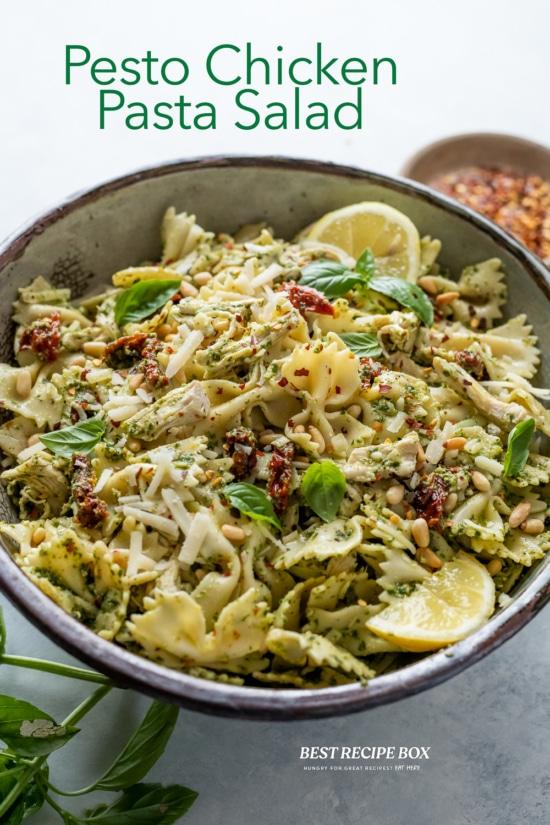 Chicken Pesto Pasta Salad Recipe in bowl