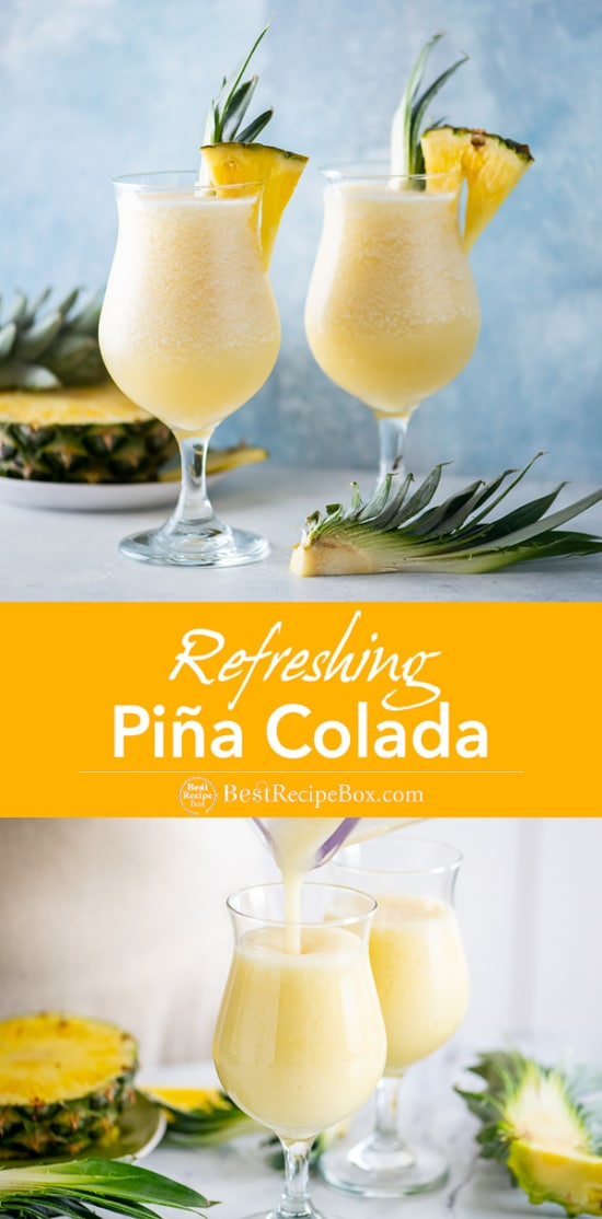 Easy Classic Pina Colada Recipe Frozen and Blended Cocktail Recipe in a glass with Pinneapple