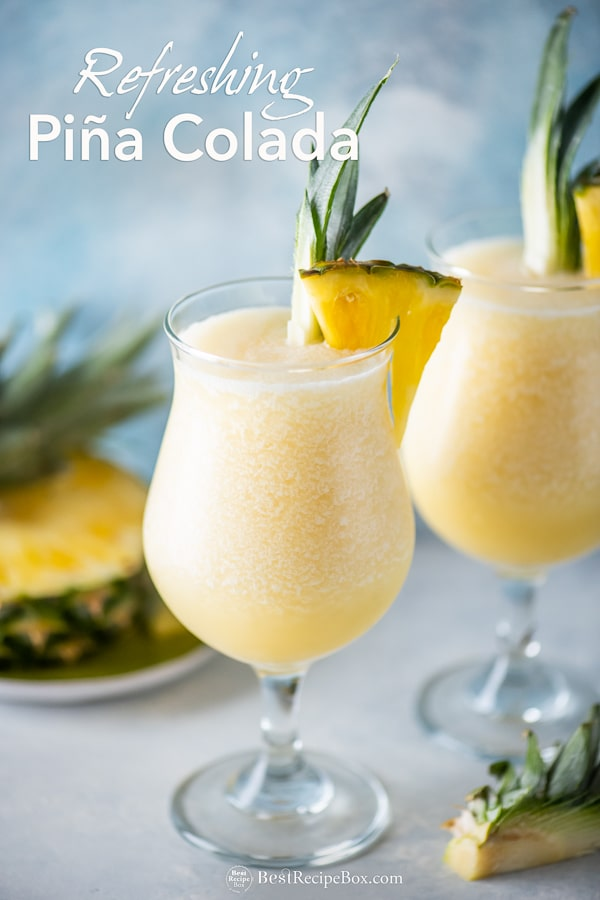 Easy Classic Pina Colada Recipe Frozen and Blended Cocktail Recipe | BestRecipeBox.com