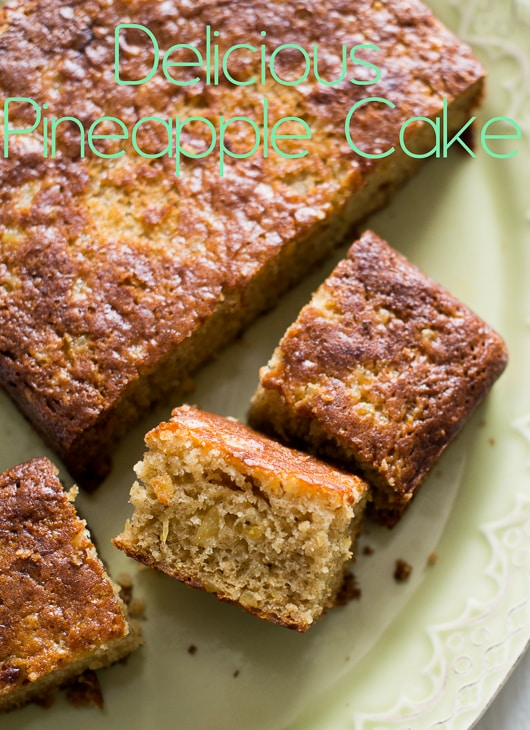 Delicious Spiced Pineapple Cake Recipe that's Moist and Tender on plate