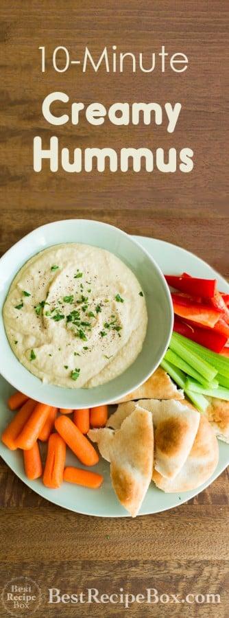 Super Easy and Creamy Homemade Hummus Recipe on BestRecipeBox.com