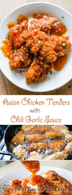Juicy chicken strips or chicken tenders recipe with Garlic Chili Sauce | @bestreciepbox