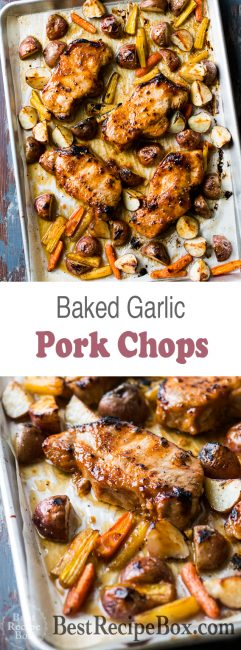 Oven Roast Pork Chops Recipe with Garlic Sauce | @bestrecipebox