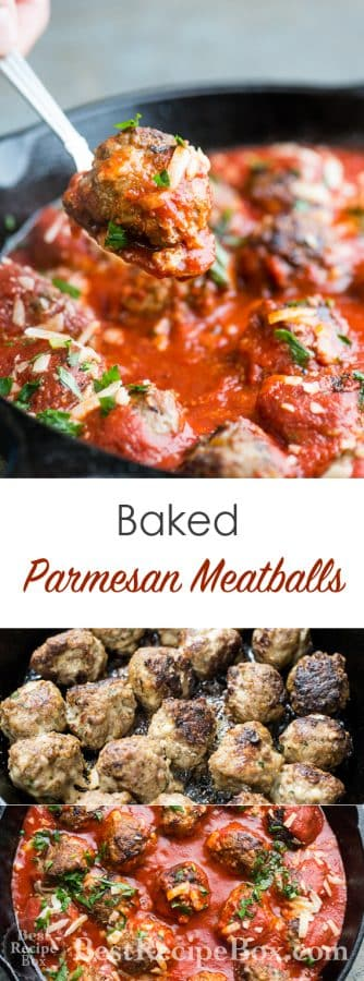 Baked Parmesan Meatballs Recipe for Easy Italian Meatball Dinner  @bestrecipebox