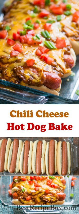 Chili Cheese Hot Dogs in a Casserole for Parties! | @bestrecipebox