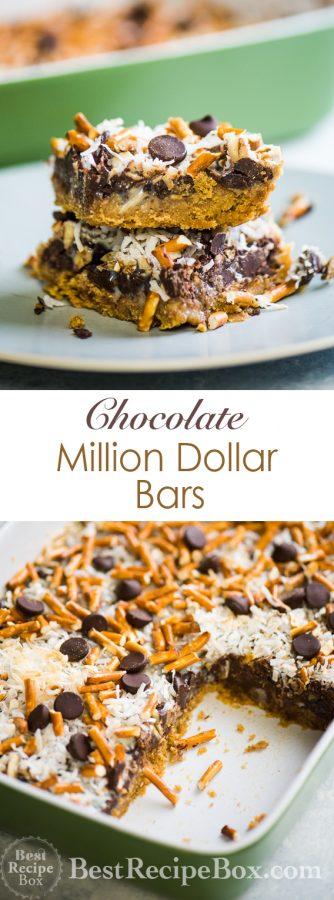 Chocolate Million Dollar Bars are Amazing Homemade Candy Bars | @bestrecipebox