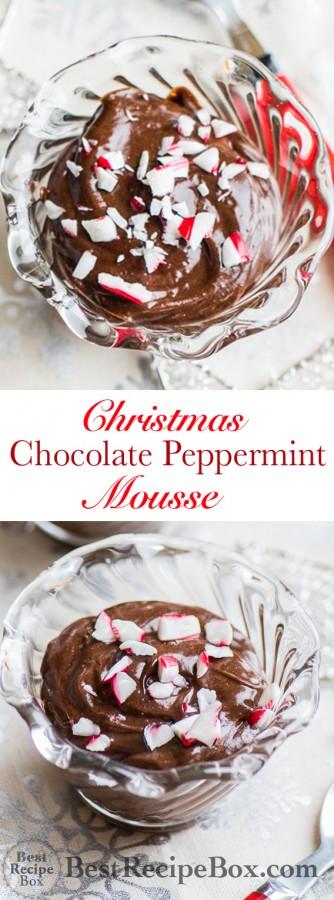 Christmas Chocolate Peppermint Mousse Recipe | @bestrecipebox