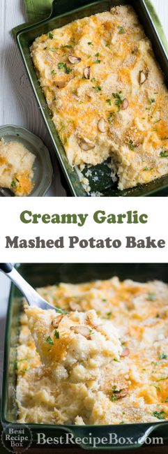 Cheesy Garlic Mashed Potato Casserole Bake Recipe | @bestrecipebox