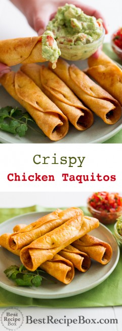Easy Crispy Chicken Taquitos recipe or Rolled Chicken Tacos | @bestreicpebox