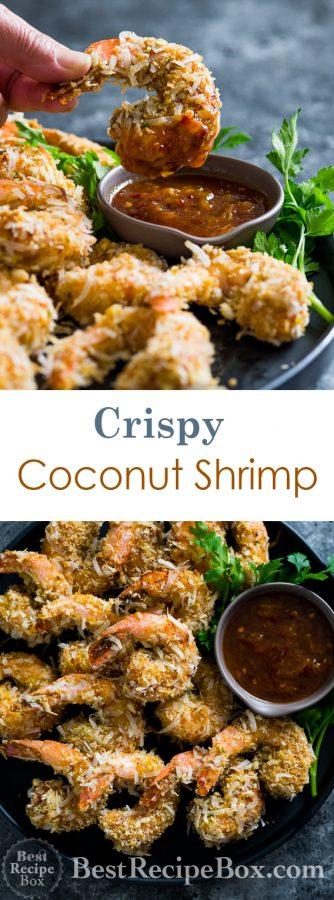 Easy Baked Coconut Shrimp Recipe with Orange Soy Dip | @bestrecipebox