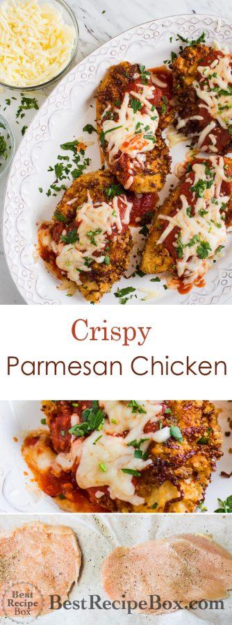 Super Easy Crispy Chicken Parmesan Recipe that's Juicy and Delicious! | @bestrecipebox