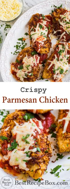 Super Easy Crispy Chicken Parmesan Recipe that's Juicy and Delicious! | @bestrecipebox