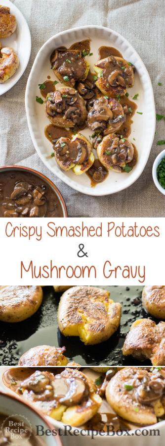 Mushroom Gravy and Smashed Potatoes Recipe @bestrecipebox