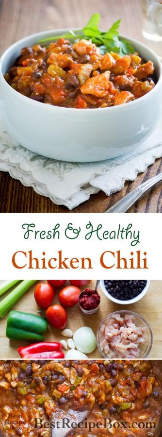 Healthy Chicken Chili Recipe with Fresh Ingredients   @bestrecipebox