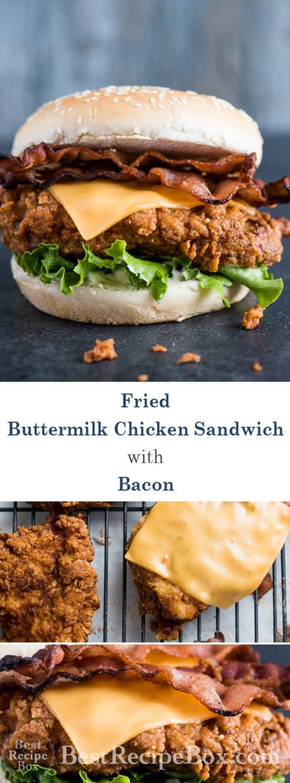 Buttermilk Fried Chicken Sandwich with Bacon & Cheddar Best Chicken Sandwich EVER! | @bestrecipebox