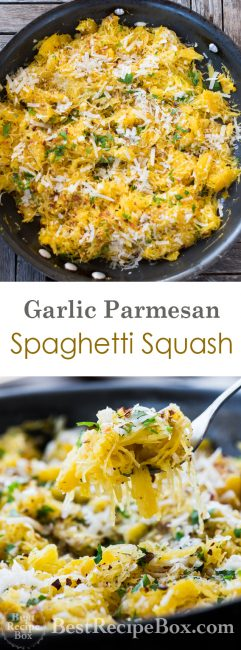 Garlic Parmesan Spaghetti Squash Recipe that's Healthy and Low Carb | @bestrecipebox