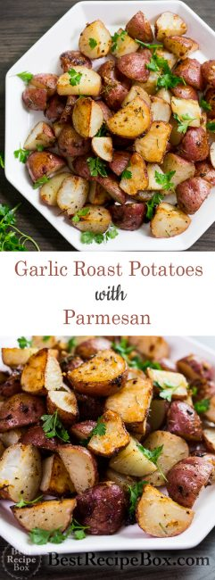 Easy Roasted Potatoes Recipe with Garlic, Rosemary, Parmesan Cheese | @bestrecipebox