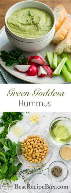 Green Goddess Basil Hummus Recipe on @bestrecipebox