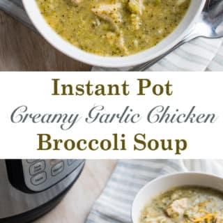 Instant Pot Creamy Garlic Chicken Broccoli Soup