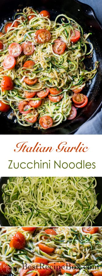 Healthy Garlic Tomato Zucchini Noodles Recipe | @bestrecipebox