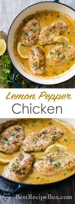Lemon Pepper Chicken Recipe with Creamy Garlic Lemon Sauce @bestrecipebox