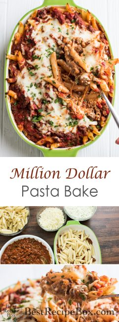 Million Dollar Pasta Bake Recipe with Cheesy Meat Sauce | @bestrecipebox