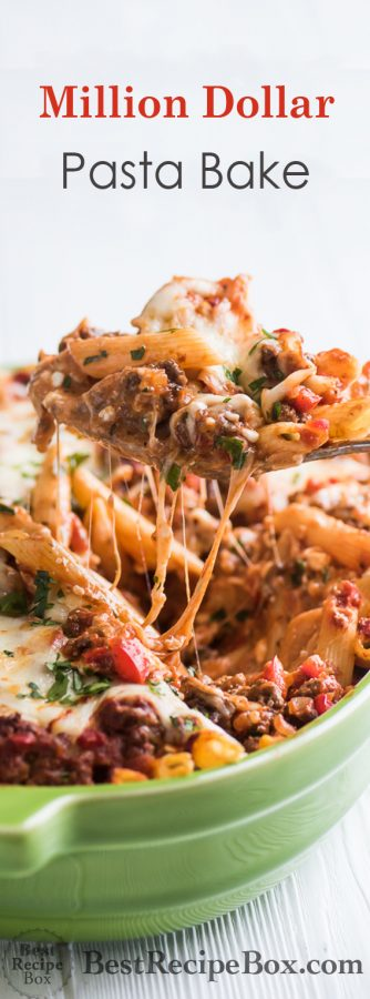 Million Dollar Pasta Bake Recipe with Cheesy Meat Sauce   @bestrecipebox